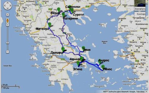 Расстояние от салоников до метеоры греция